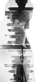 Double exposure of business man with  mobile phone and city buil Royalty Free Stock Image