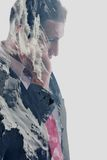 Double exposure of  business man with  mobile phone and mountain Stock Image