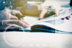 Double exposure of business man prepare and reading for document Royalty Free Stock Photography