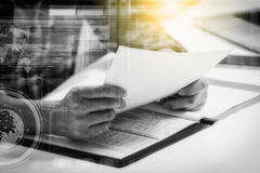 Double exposure of business man prepare and reading for document Stock Image