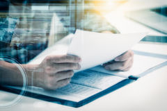 Double exposure of business man prepare and reading for document Royalty Free Stock Photo