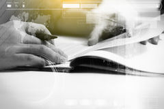 Double exposure of business man prepare and writing for document Stock Photo