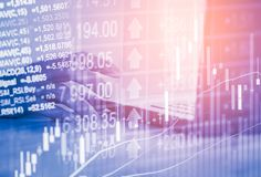 Double exposure business man on stock financial exchange. Stock. Market financial  indices on LED. Economy return earning. Stock market financial overview in Royalty Free Stock Photos