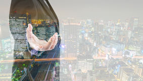 Double exposure of business man touching an imaginary screen Royalty Free Stock Photo