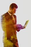 Double exposure of business man who working on laptop and alley Royalty Free Stock Images