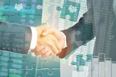 Double exposure of Business people hand shake for investment stock photography