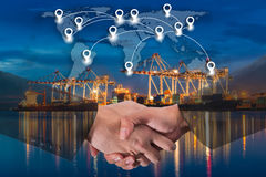 Double exposure of business people handshake. Greeting deal concept on Industrial port with containers cargo ship background and map pin flat network conection Stock Images