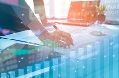Free Double Exposure Business People Working At Office. Stock Markets Financial Or Investment Strategy Stock Images - 100758644