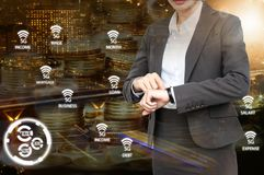Double exposure of Business woman check the time with 5G network. Icon background. Business with technology concept royalty free stock images