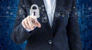 Double exposure of business woman hand touching network security Royalty Free Stock Images