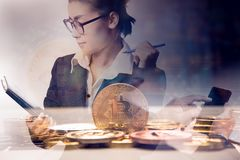 Double exposure business woman holding chart with bit coin stock photos