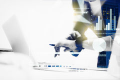 Double exposure of business woman prepare documents and looking Stock Photo