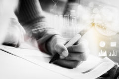 Double exposure of business woman prepare and writing for docume Royalty Free Stock Images