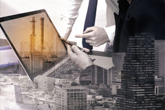 Double exposure business worker with factory industry. Construction. concept success investment stock photos