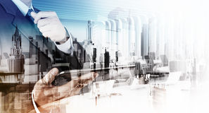 Double exposure of businessman and abstract city Stock Photo