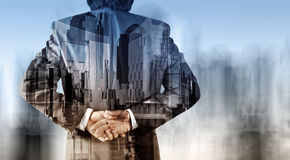 Double exposure of businessman and abstract city. As concept Royalty Free Stock Images