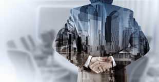 Double exposure of businessman and abstract city Royalty Free Stock Images