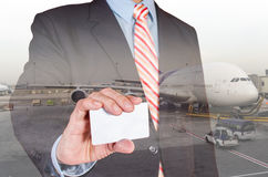 Double exposure businessman and airplane Stock Photography
