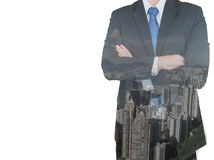 Double exposure of businessman and city Stock Photo
