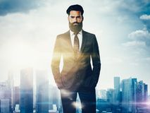 Double exposure of businessman and city Stock Photography
