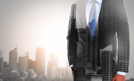 Double exposure of businessman and city. Concept of double exposure businessman and city Royalty Free Stock Image