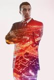 Double exposure of businessman and city Royalty Free Stock Image
