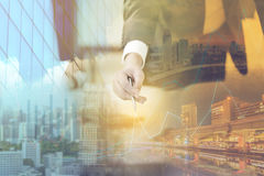 Double exposure of businessman and cityscape - Business concept Royalty Free Stock Photos