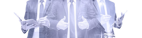 Double exposure of businessman with cityscape, Modern glass Business building stock photography