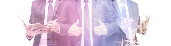 Double exposure of businessman with cityscape, Modern glass Business building royalty free stock photo