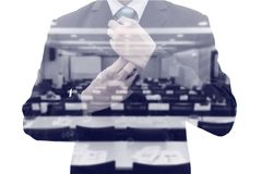 Double exposure businessman and conference room