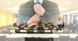Double exposure businessman and conference room Royalty Free Stock Images