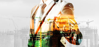 double exposure of businessman and construction site Royalty Free Stock Photos