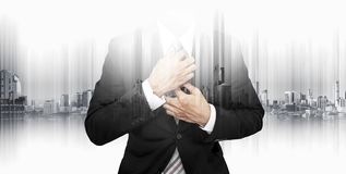 Double exposure businessman with futuristic modern building in the city background. S stock photography