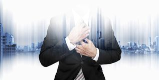 Double exposure businessman with futuristic modern building in the city background Royalty Free Stock Photo