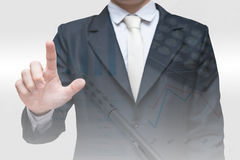 Double exposure of businessman and graph finance Stock Images
