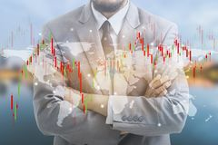 Double exposure of businessman and graph royalty free stock photos