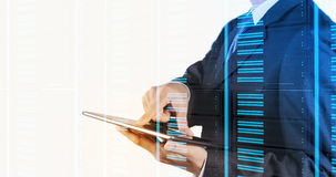 Double exposure of businessman hand pressing. A touchscreen button on server background Royalty Free Stock Photography