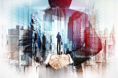 Double exposure of businessman hand showing leader. On server background as concept stock illustration