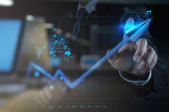 double exposure of businessman hand touch 3d virtual chart busin Stock Images