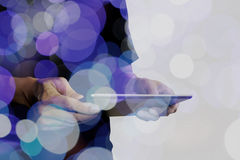 Double exposure of businessman hand using Tablet computer Royalty Free Stock Photos