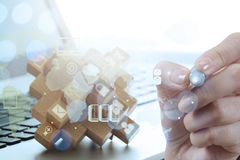 Double exposure of businessman hand working Royalty Free Stock Image