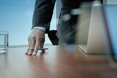 Double exposure of businessman hand working Stock Image