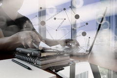 Double exposure of businessman hand working with smart phone Stock Images