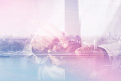 Double exposure of businessman hands with mobile smart phone Royalty Free Stock Images