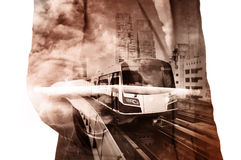Double Exposure of Businessman hold Tablet and Sky train Royalty Free Stock Images
