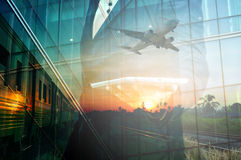Double Exposure of BusinessMan Hold Tablet and Train, Airplane Stock Photo