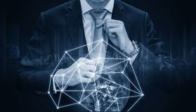 Double exposure, businessman holding necktie with global network connection, Global business and business network connection techn. Double exposure, businessman Stock Photos