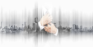 Double exposure businessman with panoramic Bangkok cityspace background. S royalty free stock photography