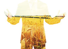 Double exposure of businessman Stock Images