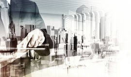 Double exposure of  businessman shows modern technology Royalty Free Stock Images